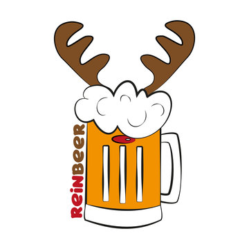 Reinbeer-funny christmas text and cute beer mug with reindeer antler. Good for textile, t-shirt, banner ,poster, print on gift.