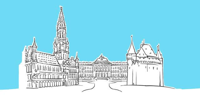 Brussels Belgium Lineart Vector Sketch