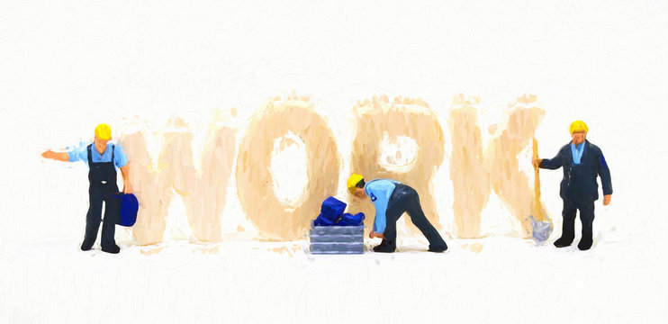 Work word and small workers digital illustration. Blue collar work concept scene. Small figurine workers