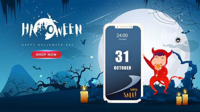 Little Cute Red Devil on Dark night background.Mobile web shopping Sale. Banner of Happy Halloween Day. Creative and Modern design in EPS10 Vector Illustration.