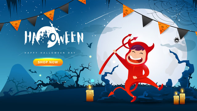 Little Cute Red Devil on Dark night background.Banner of Happy Halloween Day. Creative and Modern design in EPS10 Vector Illustration.