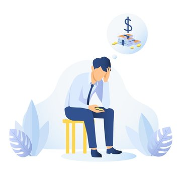 Money Shortage and Financial Problem concept. Depressed man thinking about money. Economic Crisis, Bankruptcy. Pressured office worker has a headache because of unpaid loans. Flat vector illustration