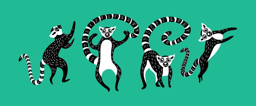 Set of black and white lemurs on green background. Vector illustration.
