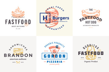 Hand drawn fast food logos and labels with modern vintage typography retro style set vector illustration.