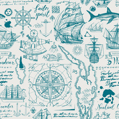Vector abstract seamless pattern on the theme of travel, adventure and discovery. Vintage repeatable background with hand-drawn sailboats, map, wind rose, anchors, sketches, inscriptions and ink blots