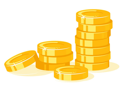 Gold coins stack concept illustration in flat style isolated, treasure of gold wealth with bright sparkles, money gold coins stacks concept of savings and dividends