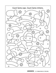 Counting game or puzzle: Count Santa caps. Count Santa mittens. Answer included.