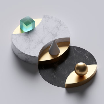 3d abstract minimal background, simple geometrical shapes, black and white marble round pedestals, golden elements, clean design, showcase podium, product display mockup, fashion concept