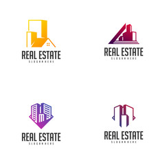 Set of Building Idea logo template, Modern City logo designs concept, Real Estate logo Vector Illustration