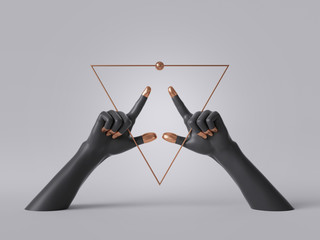 3d render, black decorative female mannequin hands isolated on white background, golden triangle frame, fingers pointing up, body parts, fashion concept, esoteric fortuneteller, clean minimal design