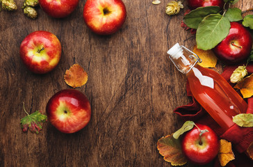 Apple cider vinegar. Bottle of fresh apple organic vinegar on wooden table background with cinnamon...