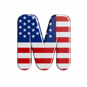 USA letter M - Capital 3d american flag font - American way of life, politics  or economics concept