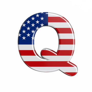 USA letter Q - Upper-case 3d american flag font - American way of life, politics  or economics concept