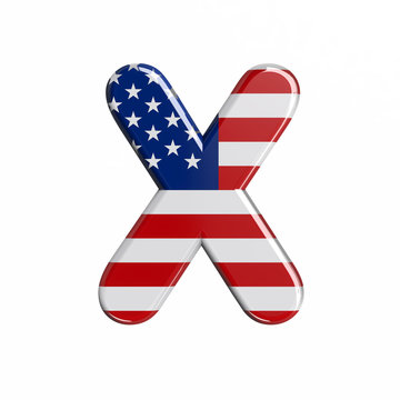 USA letter X - Upper-case 3d american flag font - American way of life, politics  or economics concept