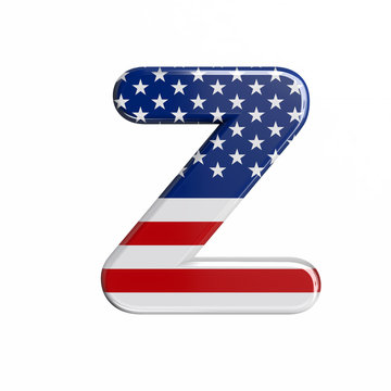 USA letter Z - Upper-case 3d american flag font - American way of life, politics  or economics concept