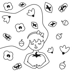 autumn modern trendy flat black and white vector illustration for coloring art with elegant woman holding a pumpkin with autumn leaves, acorns and flowers in her hair