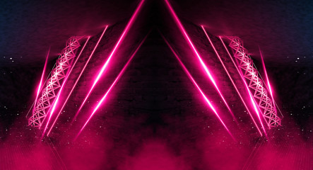 Fotomurales - Dark scene, room with neon light beams. Futuristic neon background. Smoke, night view, wall lighting. Abstract light, light tunnel, backlit design on stage. Brick wall. 3D illustration.