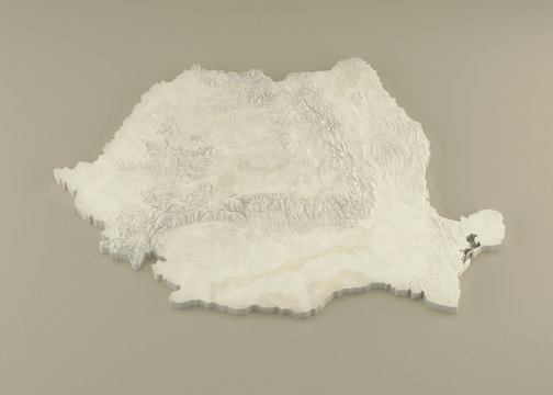 Extruded 3D political Map of Romania with relief as marble sculpture on a light beige background