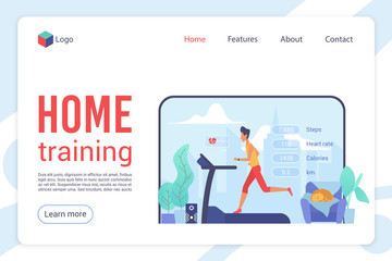 Home training flat landing page vector template. Fitness and health tracking website design layout. Physical exercises. Workout and cardio training cartoon concept. Healthy lifestyle webpage interface