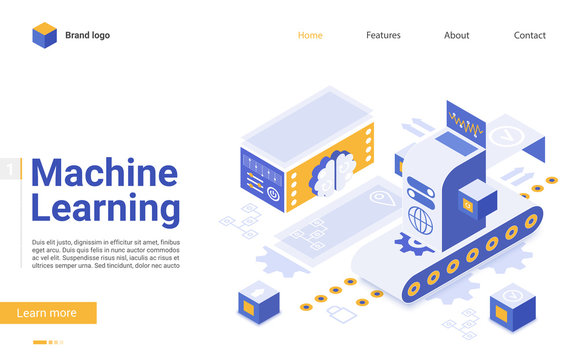 Machine learning flat landing page vector template. Artificial intelligence futuristic technologies website design layout. AI algorithm webpage 3d concept. Database server web page interface
