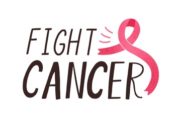 Fight cancer handwritten lettering. Women oncological disease awareness campaign slogan. Motivational typography and pink ribbon composition. Inspirational phrase on white background.