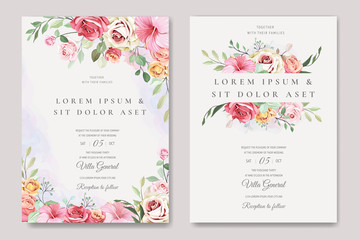 elegant wedding card with beautiful floral and leaves template Fototapete