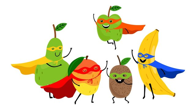 Superhero fruits team. Cute cartoon fruit superheroes isolated on white background