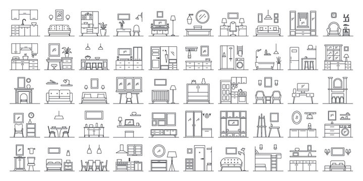 Set of 50 interior design in outline style