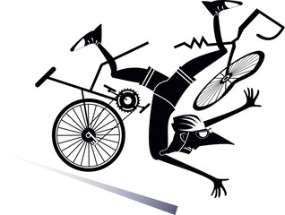 Cyclist falling down from the bicycle isolated illustration. Cyclist falling down from the broken bicycle black on white illustration