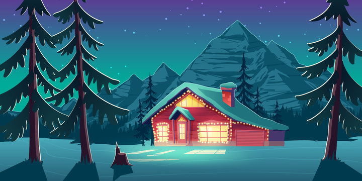 Wooden cottage house, chalet in mountains at night. Winter leisure, Christmas vacation in Canada concept. Small hotel building glowing in darkness with bulb lamps garland cartoon vector illustration