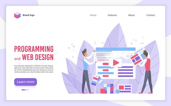 Programming and web design flat landing page vector template. Website optimization and customization cartoon concept. Webpage interface development service. Programmer, developers building website
