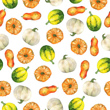 Seamless pattern with fresh orange, white and green pumpkins on white background. Hand drawn watercolor illustration.