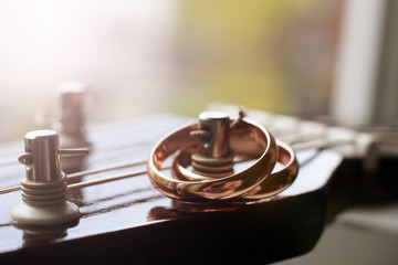 two gold wedding rings lie on guitar strings, toned image