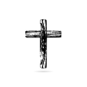 Illustration of an wooden cristian cross icon