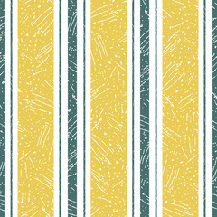 Stylish irregular saffron color and teal stripe design with frosted texture. Seamless vector pattern on white background. Great wellness products, bedlinen, sleepwear, shirts, stationery, packaging