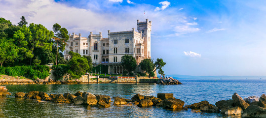 Beautiful romantic castles of Italy - elegant Miramare in Trieste.