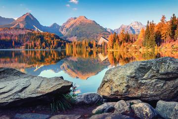 Tuinposter Bergen Mountain lake Strbske pleso (Strbske lake) in autumn time. High Tatras national park, Slovakia