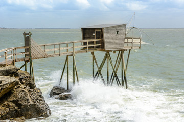 Fisherman hut along the coast of Pornic, France