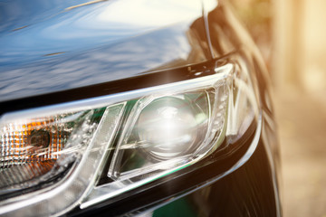 Modern car head light LED with day time running light of luxury car