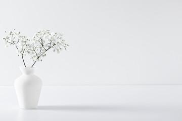 Photo sur Plexiglas Fleuriste Home interior floral decor. Elegant floral soft white composition. Beautiful white gypsophila flower in vase on white wall background.