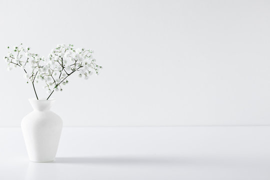 Home interior floral decor. Elegant floral soft white composition. Beautiful white gypsophila flower in vase on white wall background.