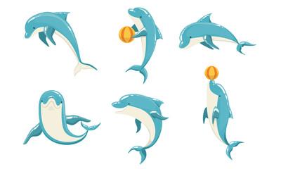Funny Blue Dolphins Set, Cute Ocean Mammals Performing Tricks Vector Illustration