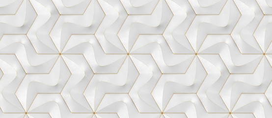 Wallpaper of white tile puzzle rough geometric panels with gold frayed edges. High quality seamless realistic texture.