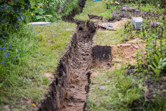 Drainage ditch. Laying a drainage pipe. Earthwork.