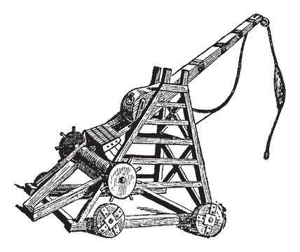 Vintage engraving of a catapult