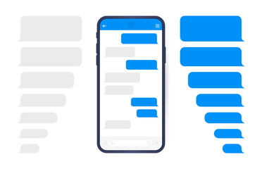 Smart Phone with messenger chat screen. Sms template bubbles for compose dialogues. Modern vector illustration flat style