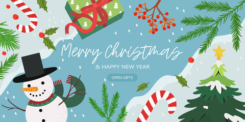 Merry Christmas and happy new year banner with gifts, floral elements, snowman and fir-tree branches on a winter background with snow and frozen river. Creative banner, flyer, poster or landing page.