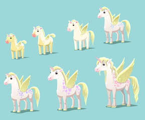 Unicorns of different ages, vector