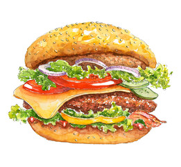Watercolor burger. Beef hamburger with steak, cheese, bacon, salad and vegetables. Hand drawn fast food. Bright watercolor stains. Paint  texture.