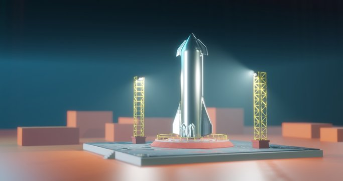 Starship on launch pad. 3d render of spaceship illustration. Rocket before launch.